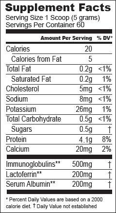 ASIHW Essential Proteins Nutritional Facts Label